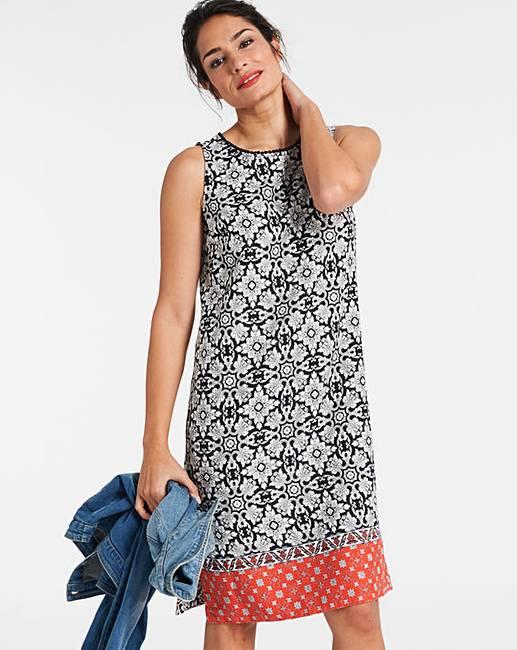 762057148b Border Print Linen Shift Dress