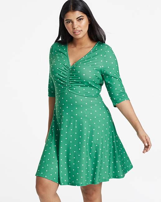 f24cd783a57 Polka Dot Green Spot Ruched Front Skater Dress