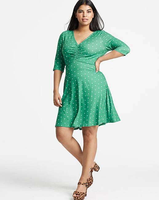 8046e81408a Polka Dot Ruched Front Skater Dress
