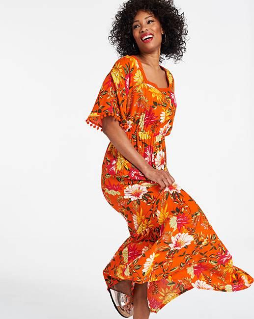 270af3be3df82 Orange Crinkle Square Neck Maxi Dress