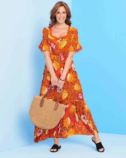 d6ae015dc2408 Orange Crinkle Square Neck Maxi Dress | Oxendales