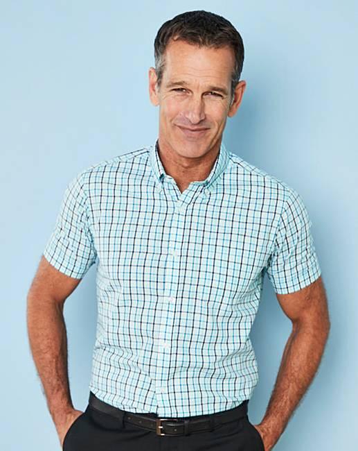 Hot Premier Man Aqua Check Short Sleeve Shirt Regular for sale