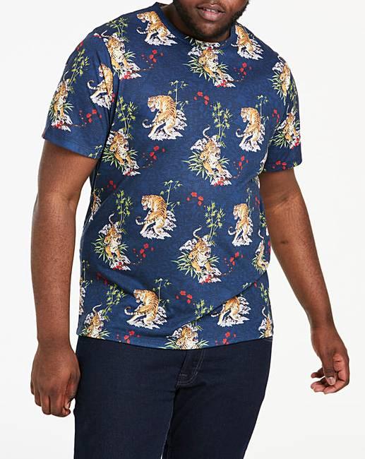75008af94 Navy Tiger Print T-Shirt L | Jacamo