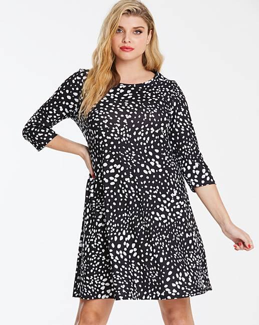 2c52172d46 Spot Print Long Sleeved Swing Dress