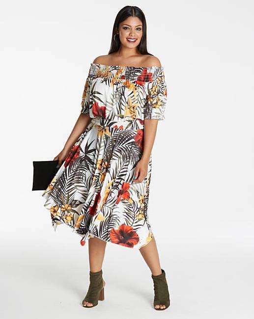 1b905b17fdd5 Tropical Print Bardot Dress | Simply Be