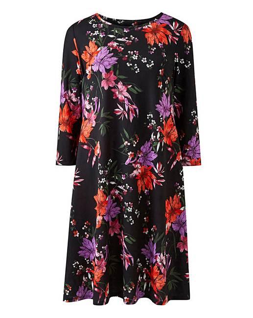 2141c9bef4ed Black Floral Long Sleeved Swing Dress