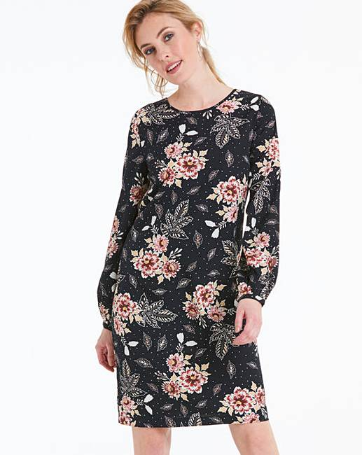d76e75972f2a Black Floral Long Sleeve Shift Dress | Marisota