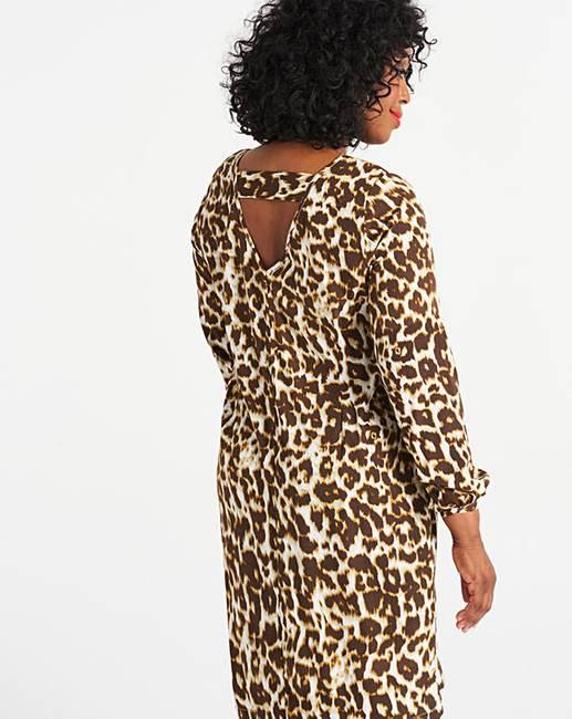 580b9401b948 Leopard Print Long Sleeve Shift Dress   J D Williams