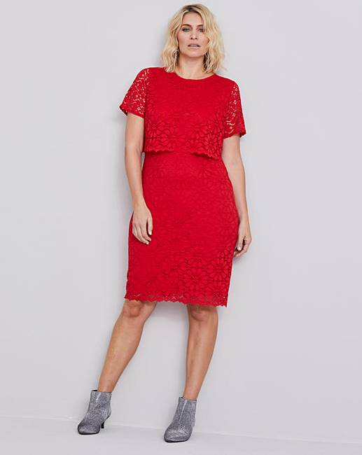 ea2a2794a Red Lace Layered Dress | J D Williams