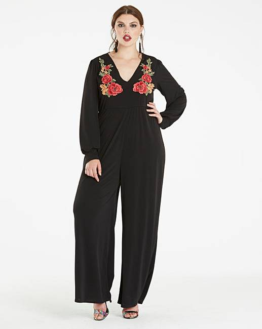 9e862aff9a9e Black Embroidered Long Sleeve Jumpsuit