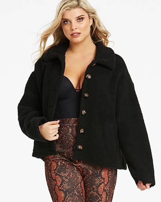 a8846de86d41 Lasula Teddy Faux Fur Black Coatigan | Simply Be