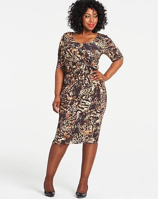 Multi Animal Print Twist Knot Dress  5c1d61272