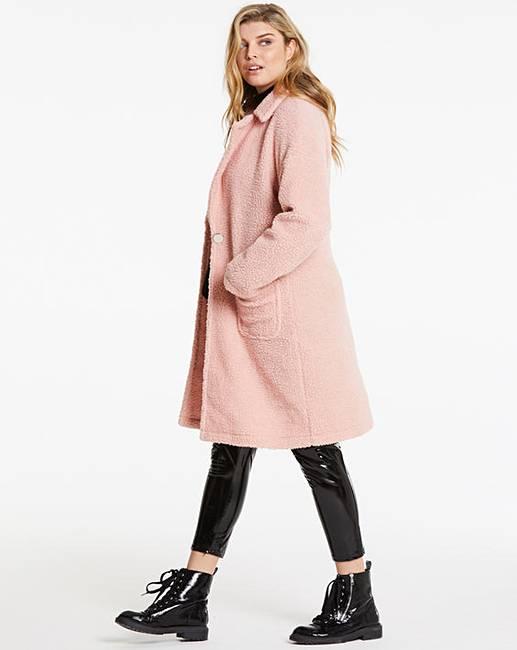 54c164a529 Lasula Pink Teddy Faux Fur Coatigan | Simply Be