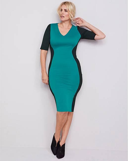 304dd375d0a2 Black/Teal V-Neck Illusion Bodycon Dress | J D Williams