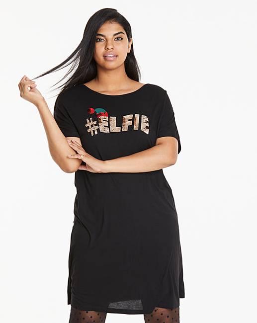 0b41107f8d06 Black Elfie Novelty T-Shirt Dress | Simply Be