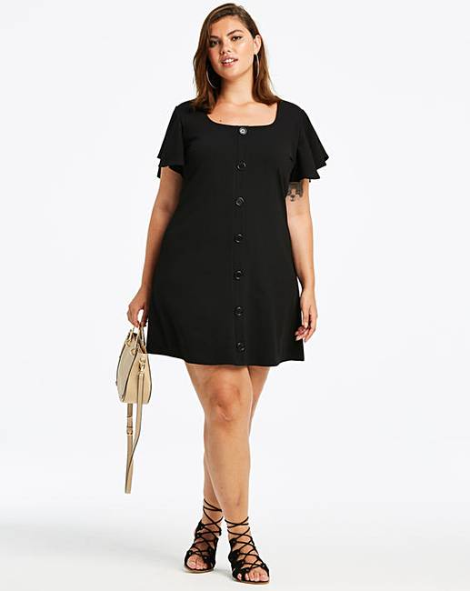 e48b13da2bc40 Black Frill Sleeve Button Front Dress