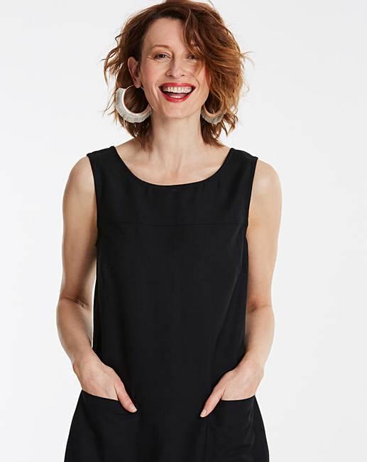 ba14fcee612 Black Linen Mix Shift Dress