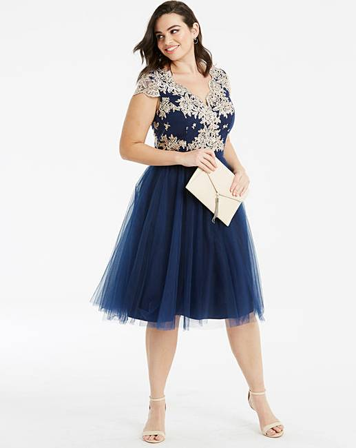 697cb2e49796 Chi Chi London Fit & Flare Lace Dress   Simply Be