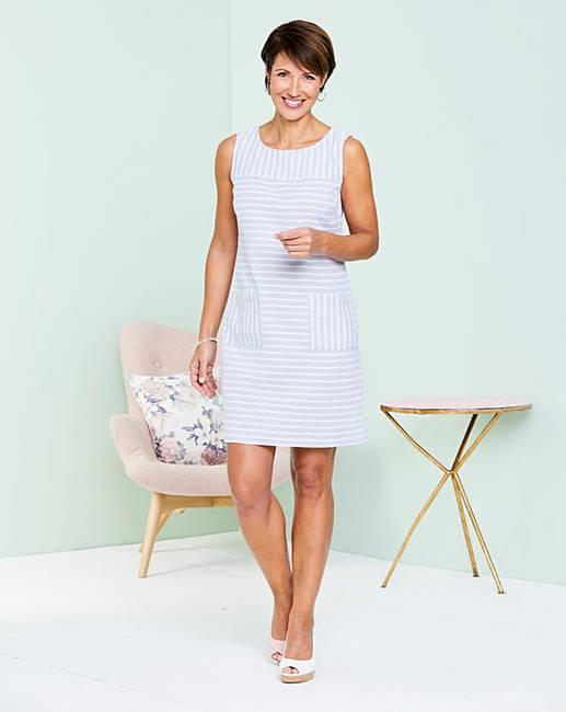 a3c07722aa Grey Stripe Linen Mix Shift Dress