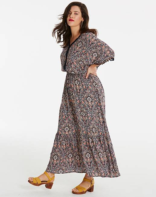 173c75621ea98e Crinkle Pom Pom Maxi Dress