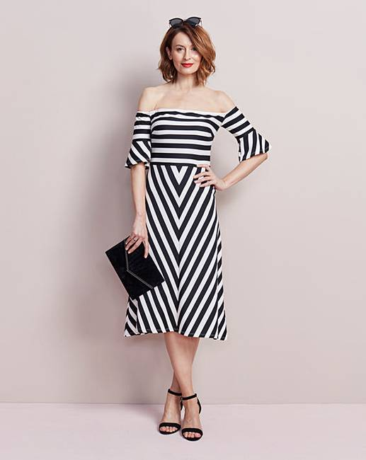bd47476e66d Fluted Sleeve Bardot Dress
