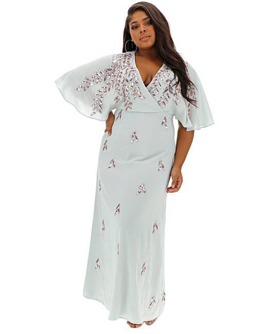 7c967ddf Maya Curve V neck Wrap sequin maxi dress | Simply Be