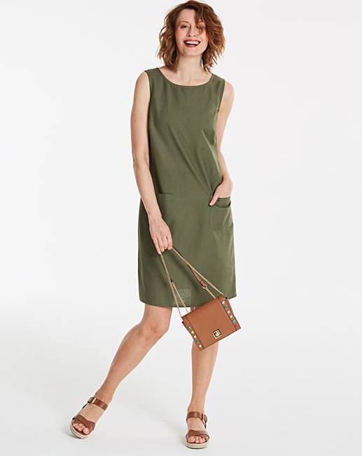 e946eaf9b9 Khaki Linen Mix Shift Dress