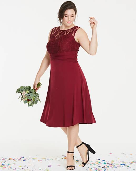 336e43a585b Bridesmaid Lace Yoke Skater Dress