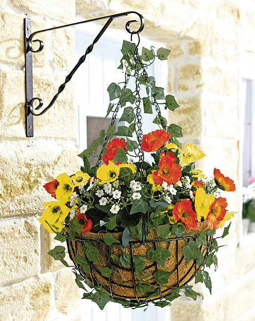 Top Poppy Ready Made Hanging Basket   House of Bath IH42