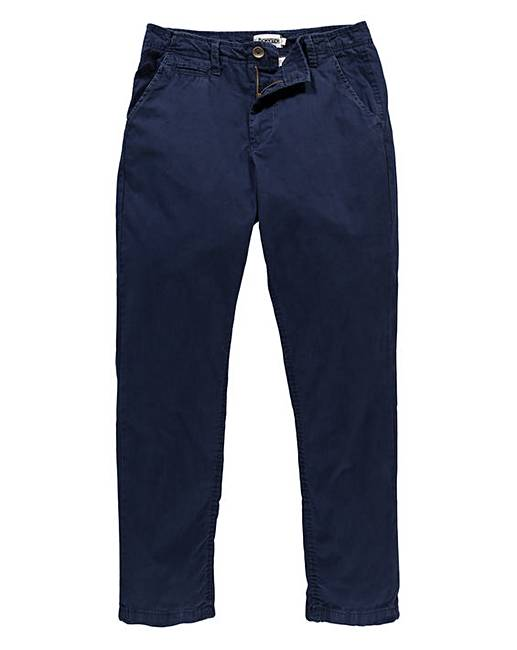 Jacamo French Navy Stretch Tapered Chino 33In Leg Length