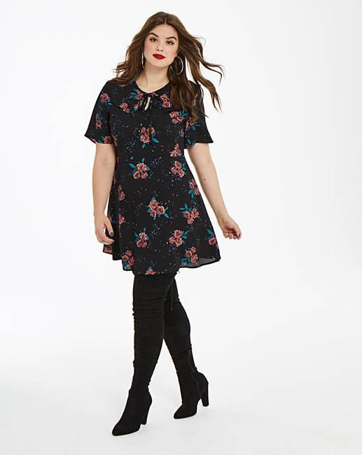 32d15e483 Fashion Union Oriental Floral Tea Dress | Simply Be