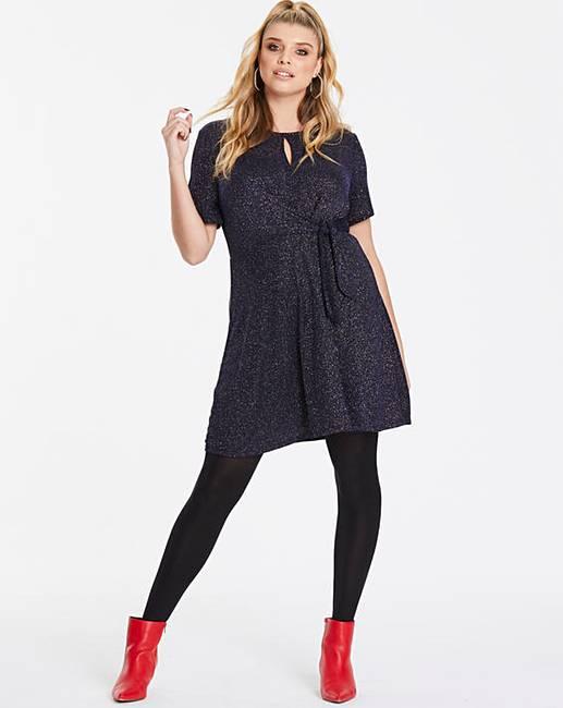 e95e84d531 Oasis Glitterball Tie Side Skater Dress