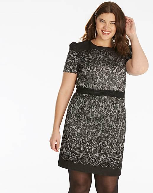 60fcbafdf7b9 Oasis Lace Jacquard Shift Dress | Simply Be