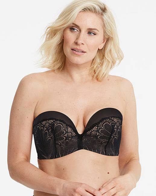 458a35958c Wonderbra Glamour Lace Black Strapless Bra