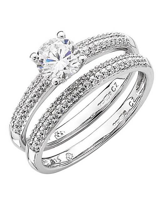 9 Carat White Gold Cz Bridal Set