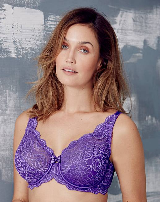5f43436209089 Playtex Flower Lace Wired Purple Bra
