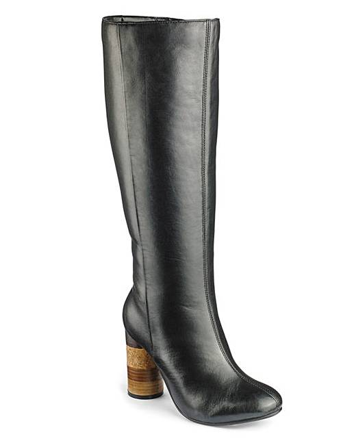 006693e05 Sole Diva Leather Boots Standard EEE Fit | Simply Be