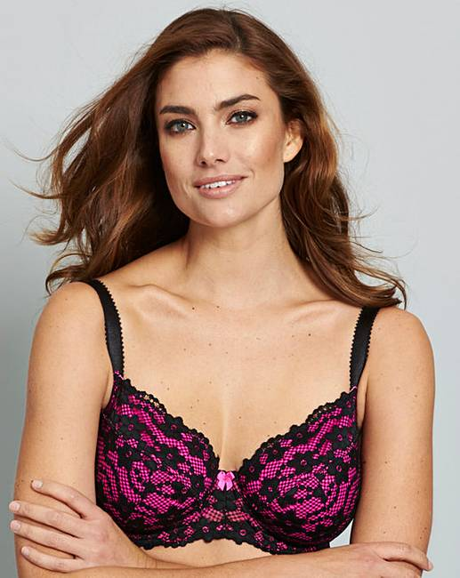 13ea0c7be3 Daisy Lace Full Cup Black Pink Bra
