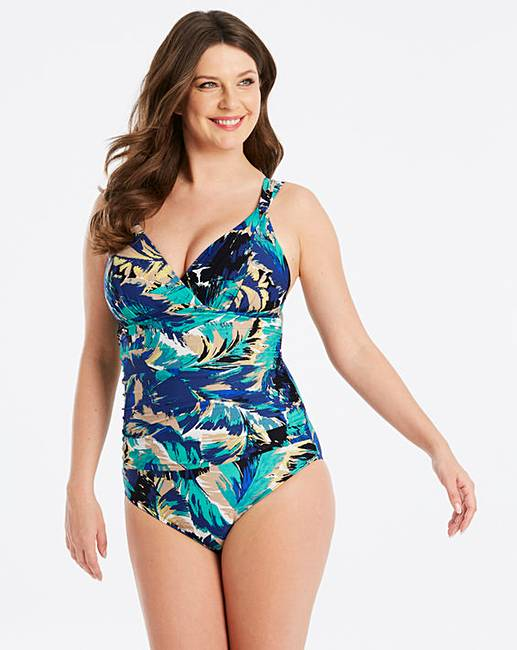 81240e45b02d9 Magisculpt Feather Print Lose Up To An Inch Shaping Swimsuit - Standard  Length