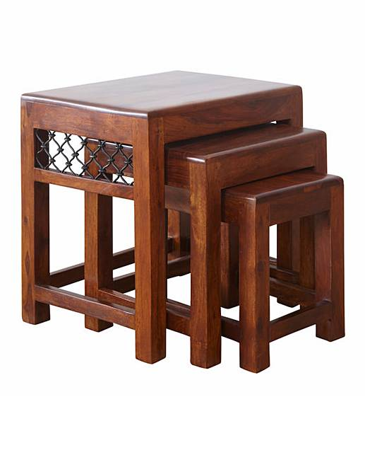 Charmant Jaipur Ready Assembled Solid Sheesham Wood Nest Of 3 Tables