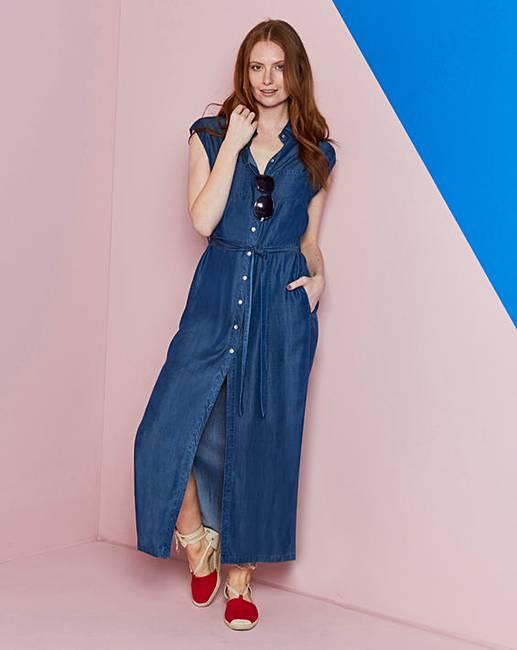 30adee36c85 Denim Tencel Maxi Shirt Dress