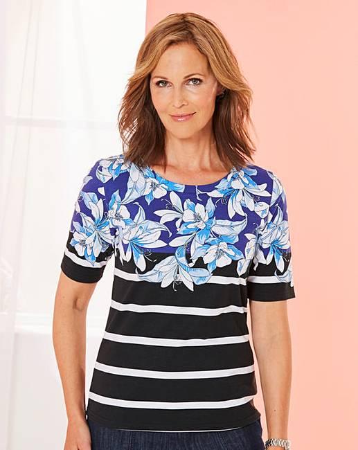 a2b384b0b87 Floral Stripe Print T Shirt   J D Williams