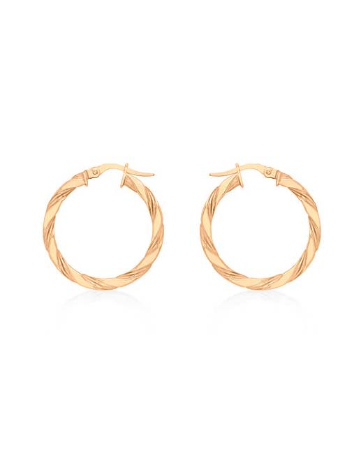 9ct Gold Small Twist Creole Earrings
