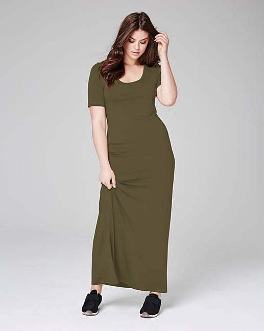 671035ecfc2 Khaki Jersey Maxi T-shirt Dress | Simply Be