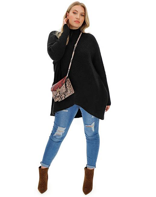cosy-black-high-neck-ribbed-jumper by simply-be