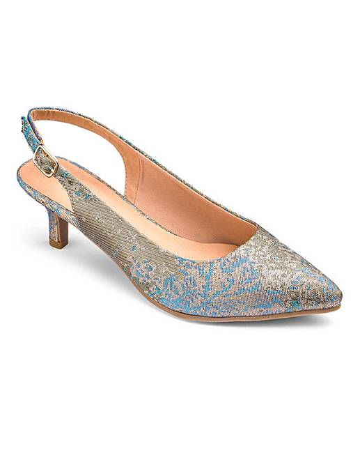 0800cc6b287 Flexi Sole Kitten Heel Slingback Court Shoes Extra Wide EEE Fit