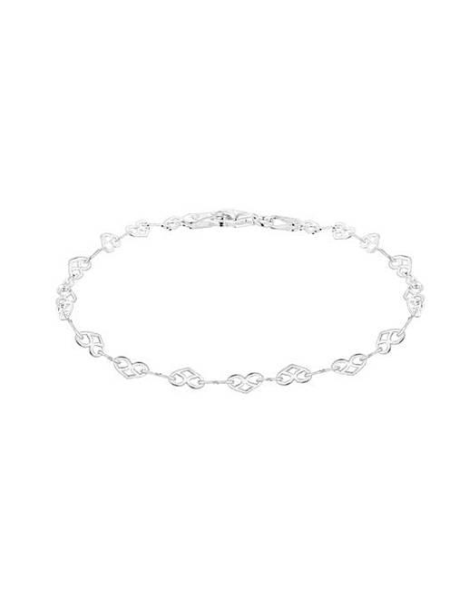 Sterling Silver Heart Link Bracelet by Fashion World