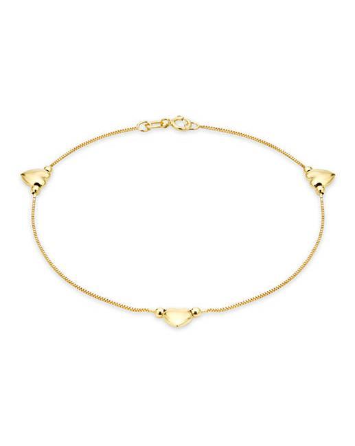 9ct Gold Triple Heart Bracelet