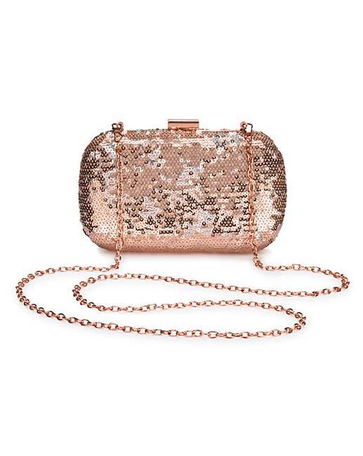 Alice Rose Gold Sequin Clutch Bag