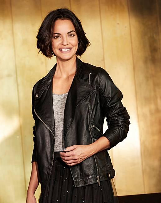 172773ae8 Black Leather Biker Jacket